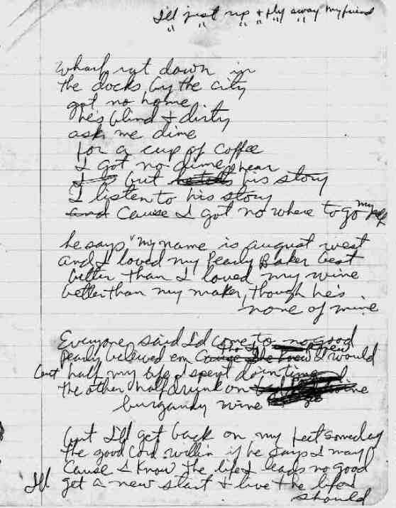 Wharf Rat handwritten lyrics by Robert Hunter
